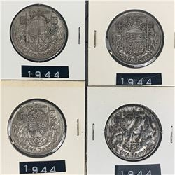 1944 LOT OF 4 CANADA SILVER 50 CENT PIECES