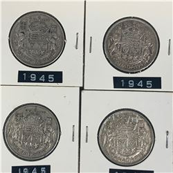 1945 LOT OF 4 CANADA SILVER 50 CENT PIECES