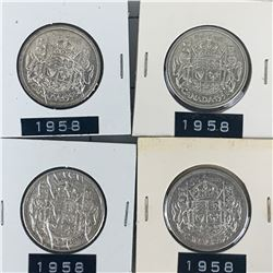 1958 LOT OF 4 CANADA SILVER 50 CENT PIECES