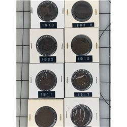 CANADA LARGE CENT PENNY DIFFERENT YEARS LOT OF 8