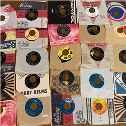 Lot of 25 VARIOUS 45RPM RECORDS JOHNNY CASH THE BEATLES WILF CARTER and MORE