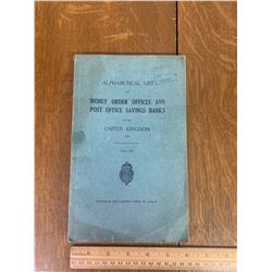 1952 MONEY ORDER OFFICES AND POST OFFICE SAVINGS BANKS UK BOOK