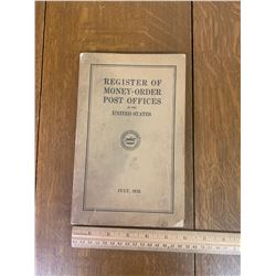 1932 UNITED STATES POST OFFICE REGISTER OF MONEY ORDER BOOK