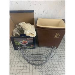 MISC LOT GARBAGE CANS BOWL FEUIT SWING