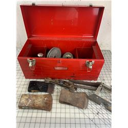 CRAFTSMAN METAL TOOL BOX WITH CONTENTS AXE HEADS ETC