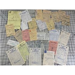 1960s LOT OF VINTAGE GAS STATION INVOICE RECEIPTS