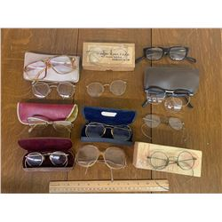 LOT OF VINTAGE AND ANTIQUE EYE GLASSES