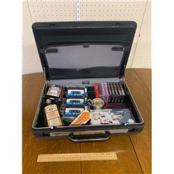 BRIEFCASE AND CONTENTS BLANK CASSETTE TAPES ETC