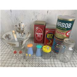 MISC LOT SALT AND PEPPERS CHIP DIP BOWL TINS ETC