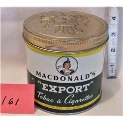 MACDONALDS EXPORT A TOBACCO CAN