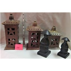 CHINESE 3 PIECE CANDLE LIGHTS AND 2 FIGURINES