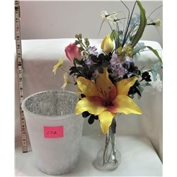 ARTIFICIAL FLOWERS/VASE AND GARBAGE CONTAINER