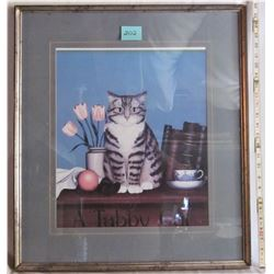 """23""""x26"""" FRAMED AND MATTED """"TABBY CAT"""" PRINT"""