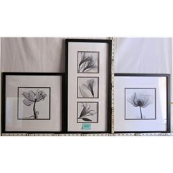 TRIO FRAMED AND MATTED BLACK AND WHITE FLOWER PRINTS