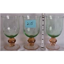 """TRIO GREEN AND ORANGE """"ETCHED"""" GOBLETS"""