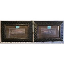 """PAIR 10""""x4"""" FRAMED/MATTED """"AFRICAN"""" LION AND ELEPHANT PRINTS"""