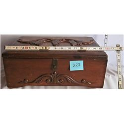 "16""x11.5""x6"" CUSTOM CARVED HINGED WOODEN JEWLERY BOX"