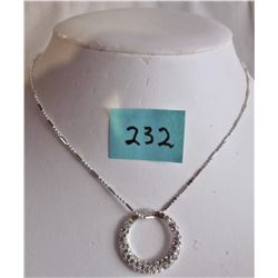 "17"" SILVER PLATE NECKLACE/ CIRCULAR RHINESTONE PENDANT"