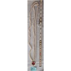 FAUX PEARL NECKLACE/ RUBY RED PENDANT