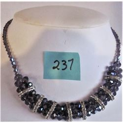 """16"""" PURPLE CRYSTAL BEADS AND RHINESTONE NECKLACE- MAGNETIC CLASP"""