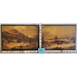 """PAIR OF 8""""x11"""" WOODEN WALL PLAQUES / WINTER SCENE"""