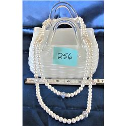 """7"""" WHITE GLASS BASKET/ JEWELERY CONTAINER- 24"""" FAUX PEARL NECKLACE"""