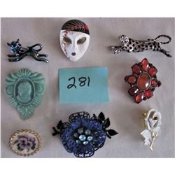 8 ASSORTED FANCY BROACHES