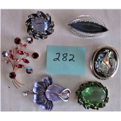 6 ASSORTED FANCY BROACHES