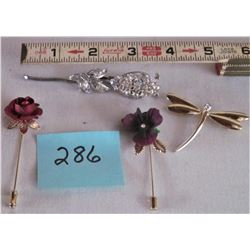 LOT OF 4 STICK PIN BROACHES