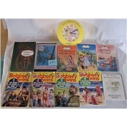 "10 CHILDRENS STORY BOOKS AND ""TIME TO READ"" CLOCK"