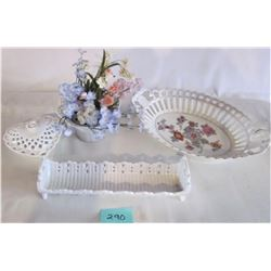 LOT OF WHITE CHINA SERVING DISHES