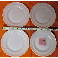 4 VINTAGE 7 1/2 FIRE KING SWIRL PATTERN WHITE SANDWICH PLATE