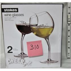 "PAIR OF NEW ""STOKES"" TILTED WINE GLASSES BOXED"