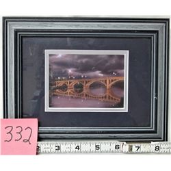 "FRAMED AND MATTED ""SCRIMSHAW"" SASKATOON'S BROADWAY BRIDGE PRINT"