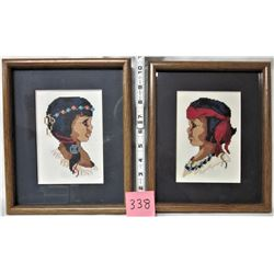 PAIR OF ABORIGINAL NATIVE FIRST NATIONS 'PETIT POINT' BOY & GIRL FRAMED & MATTED PORTRAITS 2005
