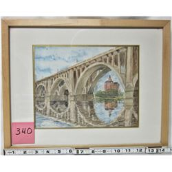 "8"" X 10"" FRAMED MATTED ORIGINAL ""WATERCOLOR"" SASKATOON BROADWAY BRIDGE"
