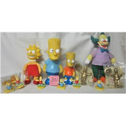 LOT OF SIMPSONS COLLECTIBLE HARD PLASTIC & CLOTH DOLLS & ORNAMENTS (LISA, BART, KRUSTY THE CLOWN)