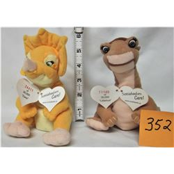 2 RARE 'LAND BEFORE TIME' (LITTLEFOOT & CERA) SCOTIABANK NUMBERED LIMITED EDITION DINOSAUR PLUSH