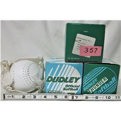 "3 NEW BOXED DUDLEY 11"" LEATHER OFFICIAL SOFTBALLS"