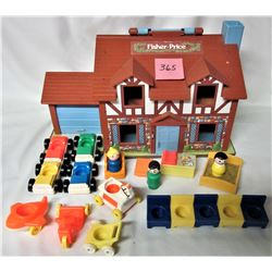 "VINTAGE 1980'S FISHER PRICE 952 ""LITTLE PEOPLE"" HOUSE/ACCESSORIES"