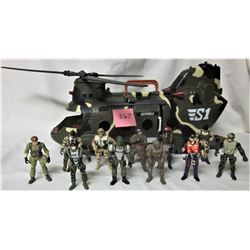TOYS 'R' US SENTINEL SI HELICOPTER & TRUE HEROES MILITARY ACTION FIGURES