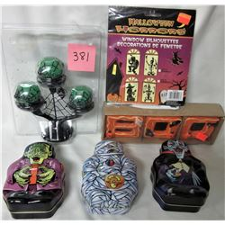 LOT OF HALLOWEEN CANDLES & TINS NEW