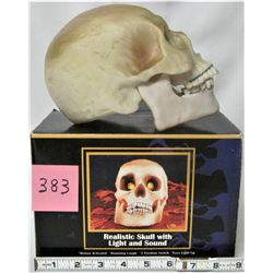 NEW HALLOWEEN BOXED MOTION ACTIVATED SKULL- HAUNTING LAIGH & LITE UP EYES