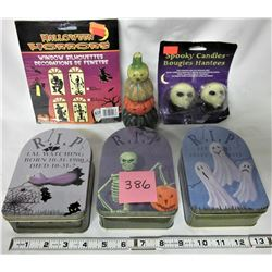 ASSORTED HALLOWEEN NEW CANDLES, CANS, WINDOW SILHOUETTES