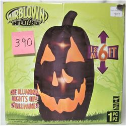 "6' ""INFLATABLE"" BLACK HALLOWEEN PUMPKIN"