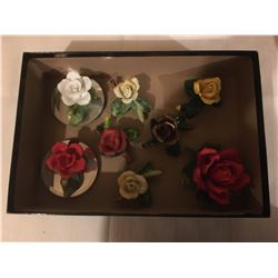 411-SET OF 8 PORCELAIN ROSES IN ALFRED SUNG COLLECTOR BOX