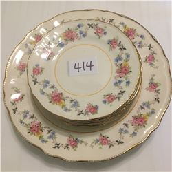 414-3 DINNER PLATES/7 BREAD BUTTER PLATES SOVEREIGN POTTERY