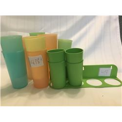 418-LOT OF VINTAGE TUPPERWARE GLASSES SET OF 4 W/HANGERS 11 MISC SIZES