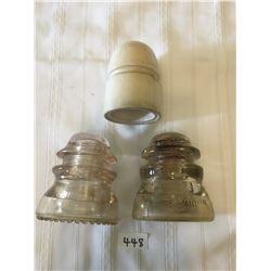 448- POWER INSULATORS LOT OF 3   DOMINION/GLASS MARKED 10D, PORCELAIN GISBORNE PATTERN