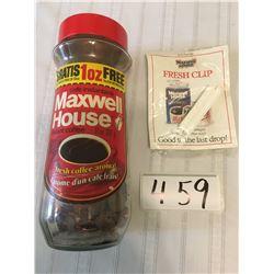 459-MAXWELL HOUSE COFFEE JAR WITH PENNIES
